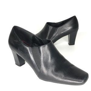 Aerosoles Catchy Black Leather Square Toe Heels